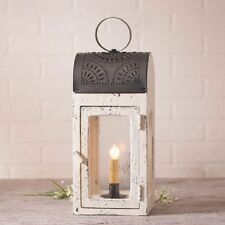 PRIMITIVE WOOD PUNCHED TIN LANTERN Antique Seedy Glass ORNATE RUSTIC CANDLE LAMP