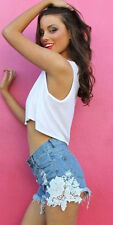 Blue RUSH HOUR denim shorts with white lace detail on sides BNWT Wilde Heart