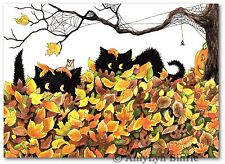 #421  Peek Boo Black Cats Hamster Halloween Pumpkin ArT-BiHrLe Prints or ACEO