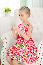Baby Girls Cotton Dress Printed Flower Dress Toddler Dresses Sz000-4 Red Orange