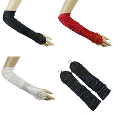 EMBROIDERY BEADS RUCHED BRIDAL WEDDING ELBOW FINGERLESS GLOVES #LGV043