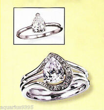 AVON Silvertone Pear-Shaped Cubic Zirconia Ring with Jacket Set