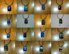 New Dichroic Lampwork Glass Foil Opal Like Murano Pendant Necklace