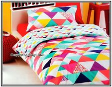 White Pink Yellow Purple Pale Turquoise Geo Quilt Doona Cover Set Single Double