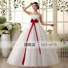 Pregnant Woman White Wedding Dress/Princess Red Bow Large Pregnant Bridal Gown