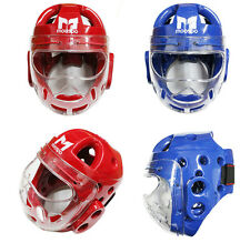 Head Gear Clear Face Mask Shield Protector Guard Sparring Hook Loop Closure MMA