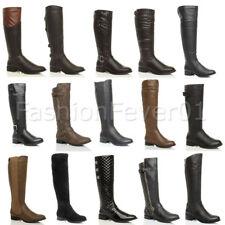 WOMENS LADIES FLAT LOW MID HEEL CALF KNEE STRETCH BUCKLE ZIP WINTER RIDING BOOTS