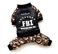 FBI Camflauge Jumpsuit Costume Winter Coat Sweater Small Boy Girl Dog Clothes