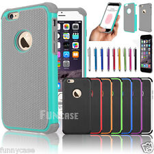 """For Apple iPhone 6 4.7"""" 6 Plus 5.5"""" Black Rugged Rubber Matte Hard Case Cover"""