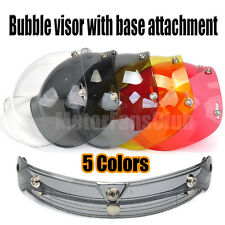 New Bubble Style 3-Snap Motorcycle Helmet Visor Flip Up Face Wind Shield Lens