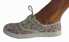 Silver Metallic Sequin Mesh Keds look Lace Up Tie  Bridal Sneakers Flats Shoes