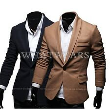 Handsom Jacket Mens Stylish Solid Color Small Suit Blazer Lapel Slim Fit GBW