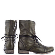STEVE MADDEN TROOPA WOMEN'S BOOTS - DARK GREEN LEATHER (new in box)