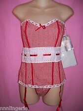 """Dreamgirl Lingerie Sexy 3 Piece """"Country Sweet"""" Corset, G-String & Stockings Set"""