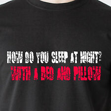 How do you sleep at night? with a bed and pillow. jerk mean retro Funny T-Shirts
