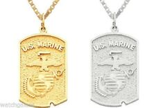 10k or 14k Yellow or White Gold US Marine Corps Military Pendant Charm Necklace
