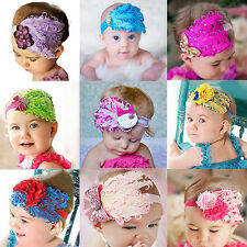 Cute Lovely Baby Girl Kids Infant Peacock Feather Headband Hair Band Hair Flower