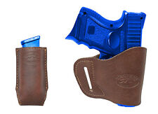 New Barsony Brown Leather Yaqui Holster + Mag Pouch HK, KAHR Compact 9mm 40 45