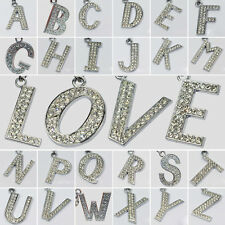 New A-Z Alphabet Letter Grass Diamante Bling Sparkly Key Chain Ring