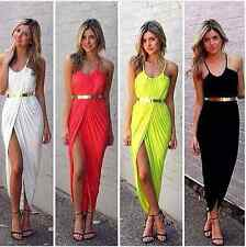 Women Ruched Front Split Slit Leg Sexy Maxi Dress available in 4 colors