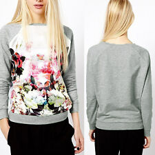 New Women Casual Sweater Print Loose Pullover Sweatshirt Hoodie Tops Outerwear