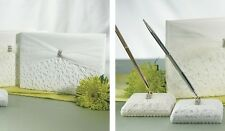 3 PC Bridal Tapestry Traditional Wedding Guest Book AND Pen Set White Ivory (WS)