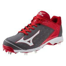Mizuno Men's 9-Spike Swagger 2 Low Adult Metal Baseball Cleats - Grey & Red