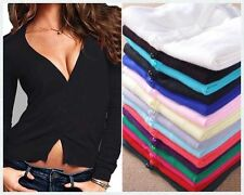 SEXY WOMENS CARDIGAN ALL COLORS TIGHT LOW V NECK CLEAVAGE 3/4 SLEEVE