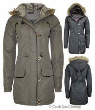 WOMENS AVA WINTER JACKET LADIES MILITARY HOODED PADDED QUILTED PARKA COAT 8-16