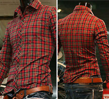 2015 Fashion Men's Casual Slim Fit Long Sleeve College Campus Plaid Shirts Tops