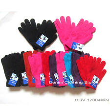 12 24 60 pairs LOT MEN WOMEN MAGIC SOLID PLAIN COLOR WINTER WARM KNITTED GLOVES