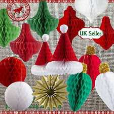 Novelty / Vintage CHRISTMAS HONEYCOMB HANGING DECORATIONS Party Decor 9 Designs!