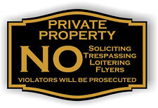 Engraved Private Property  No Soliciting No Trespassing Front Door Plaque Sign