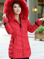 Hot Women's fashion Slim down cotton trench coat hooded thick padded jacket fur