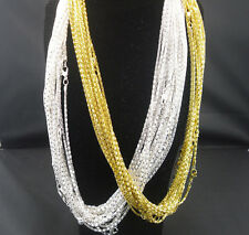Fashion Silver golden Plated Snake Chain With Lobster claw Clasp Necklace 22""