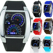 New Fashion Silicone Rubber Band Blue Binary DOT Unisex LED Wrist Watch 6 Colors