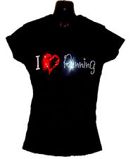 I LOVE RUNNING LADIES SHIRT CRYSTAL DESIGN  gym training fitness  ALL SIZES