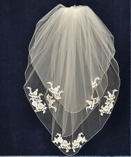White Ivory Alencon Lace Applique 3 Layer Fingertip Embroidered Edge Bridal Veil