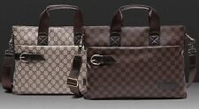 Casual Plaid Faux Leather Men's Briefcase Handbag Shoulder Mesenger Laptop Bag