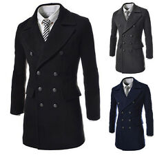 New Men's Winter Warm Double Breasted Trench Overcoat Wool Blends Coat Outerwear