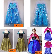 New Princess Elsa Frozen Dress Fancy Costume Anna Girls Party Queen Kids Cosplay