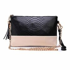 Leather Tassel Snake Grain Clutch Bag in 6 Colors for Women New