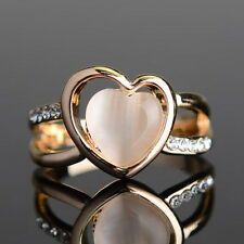 Vintage Unique Retro Women Heart Shape Opal Yellow Gold Plated Rings Wedding