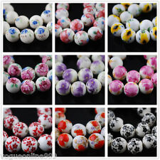 5pcs 12mm Round Ceramic Porcelain Flowers Painting Loose Spacer Beads 35 Colors