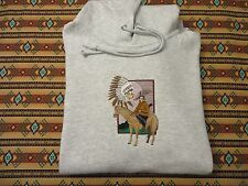 Embroidered Native American Chief Hoodie with Horse