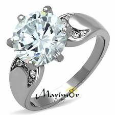 3.9 CT ROUND CUT CUBIC ZIRCONIA STAINLESS STEEL 316L ENGAGEMENT RING SIZES 5-10