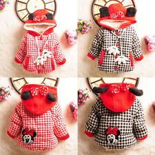 Lovely Baby Kids Girls Mickey Minnie Plaid Cotton Warm Coat Jacket Outwear 1-5Y
