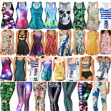 3D Print Womens Leggings Dress Tops Skirt Singlet Bodycon T-Shirt Bikini Vest