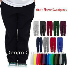 Kids Children Youth Boys Girls Unisex Solid Winter Fleece Sweatpants Size S-2XL