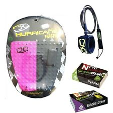 pack Hurricane Surf traction pad + leash + wax Packing surfing surfboard grip